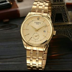Mens Watches Top Brand Luxury CHENXI Golden Watch
